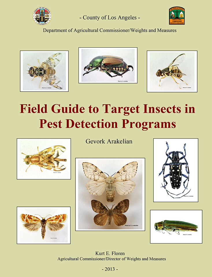 Field Guide to Target Insects in Pest Detection Programs. Flyer with pictures of insects